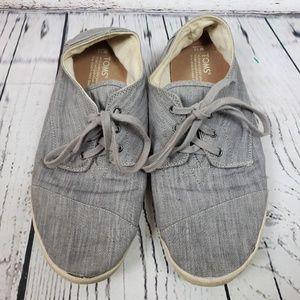 Toms Lace Up Gray Canvas Shoes